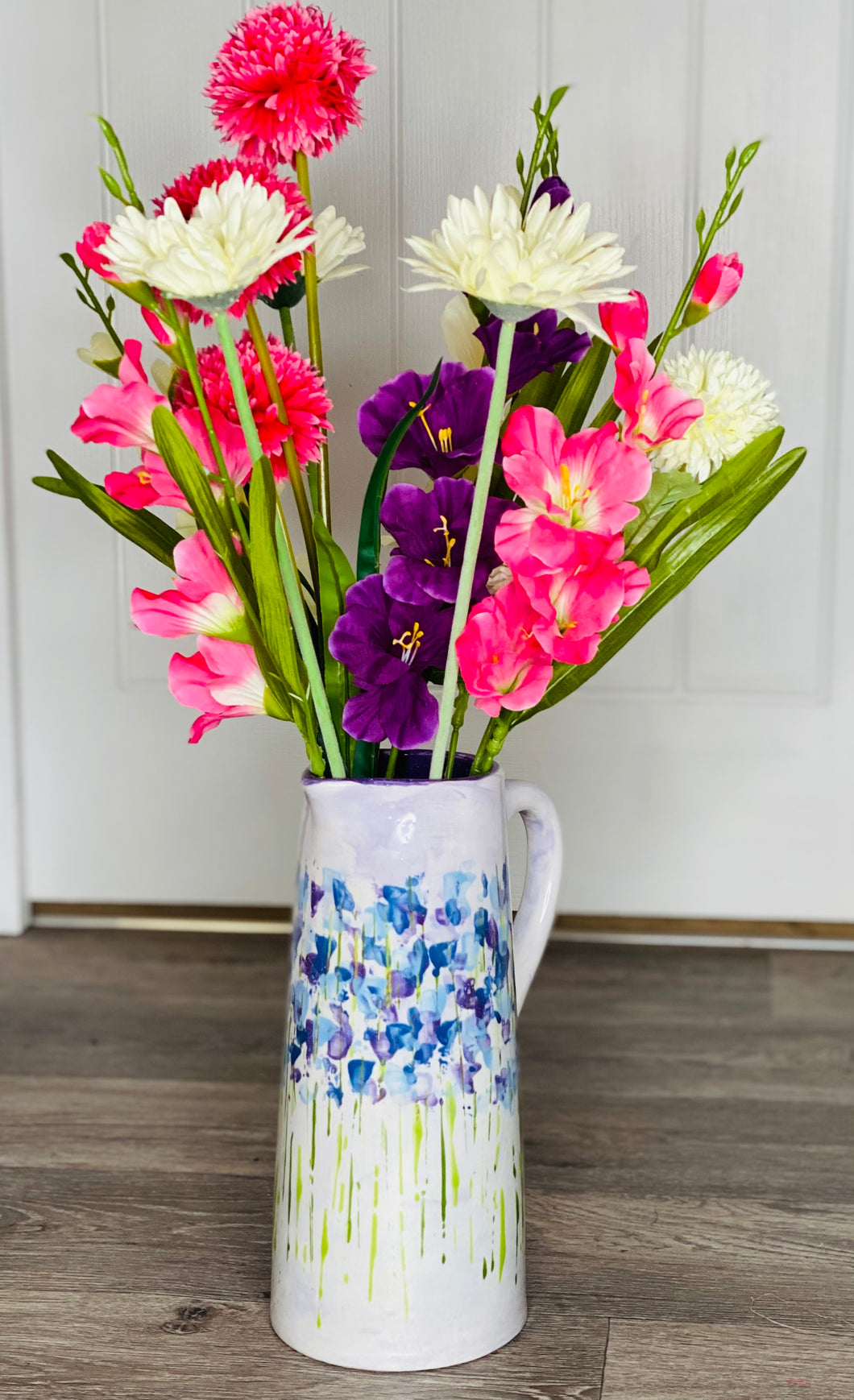 Tall Hand-painted 'Purple Meadow Flowers' Vase/Jug