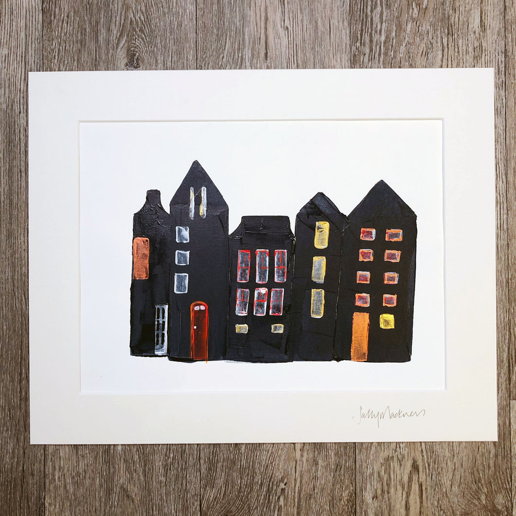 'Town Houses #2'- original art on paper - Sally Mackness