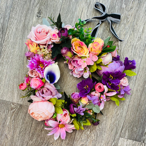'Hearts & Flowers: purple haze' Door Wreath