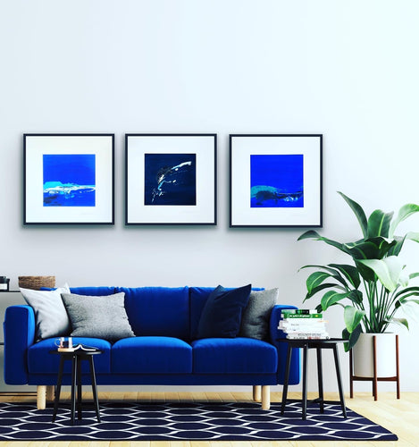 'Moody Blues' - three large unframed paintings