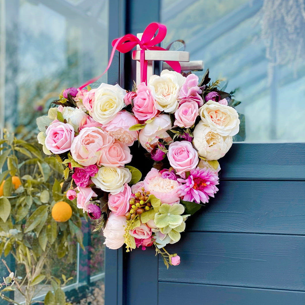 'Hearts & Flowers: pretty pinks' Door Wreath
