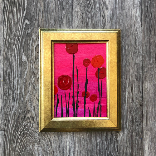Flower Pop Poppies - gold framed