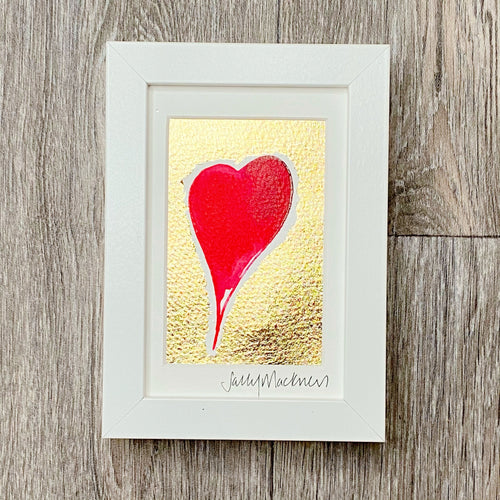 'Give A Little Love' - red heart/gold leaf