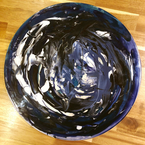 Hand-Painted Large Flat Plate - Storm