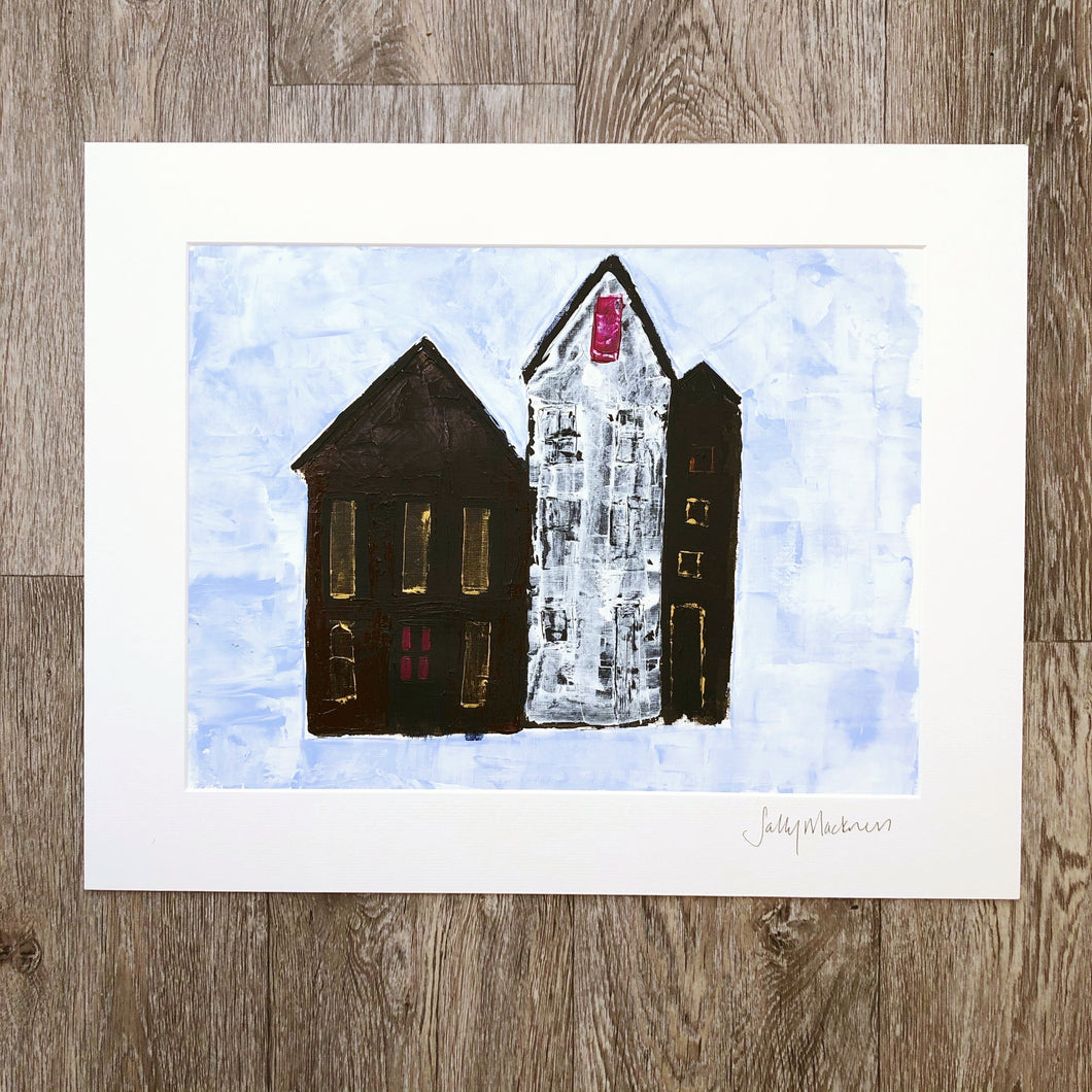 'Homes on the Hill ' - original art on paper - Sally Mackness