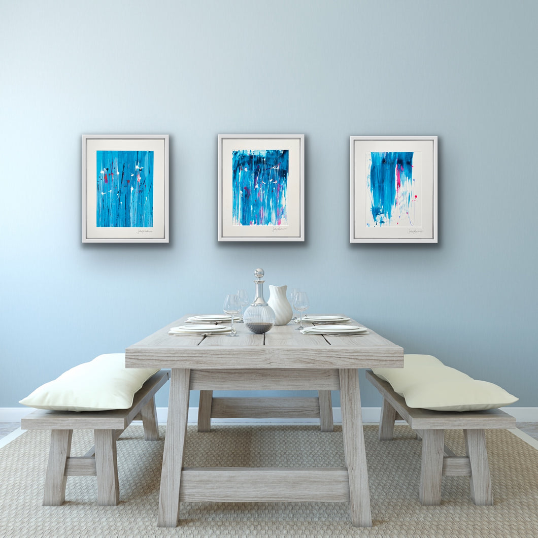Coastal Meadow Splash - three unframed paintings