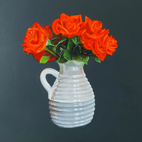 'Orange Roses In Vase' - original painting by Paul Mackness