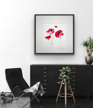 Large 'Wild Poppies' - on paper & mounted
