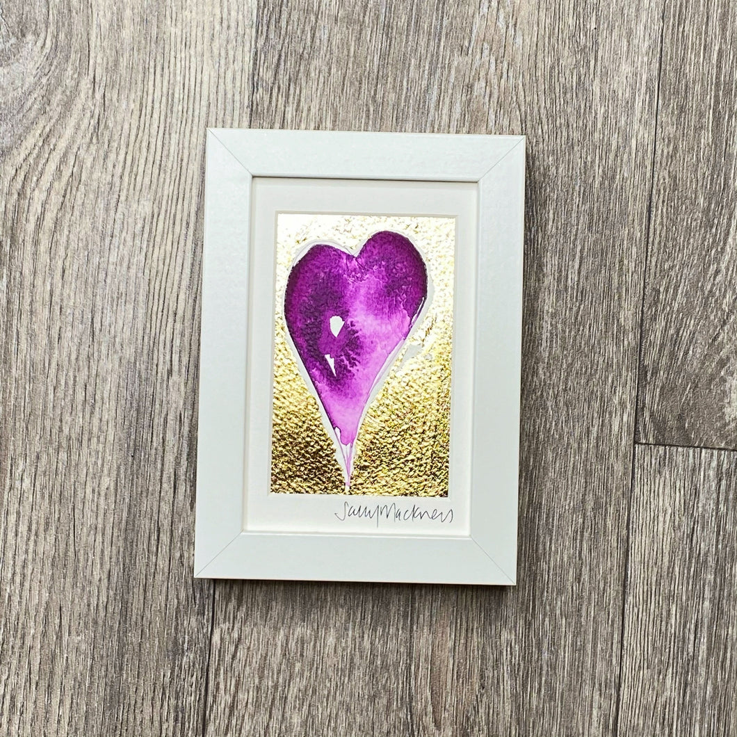 'Give A Little Love' - purple heart/gold leaf