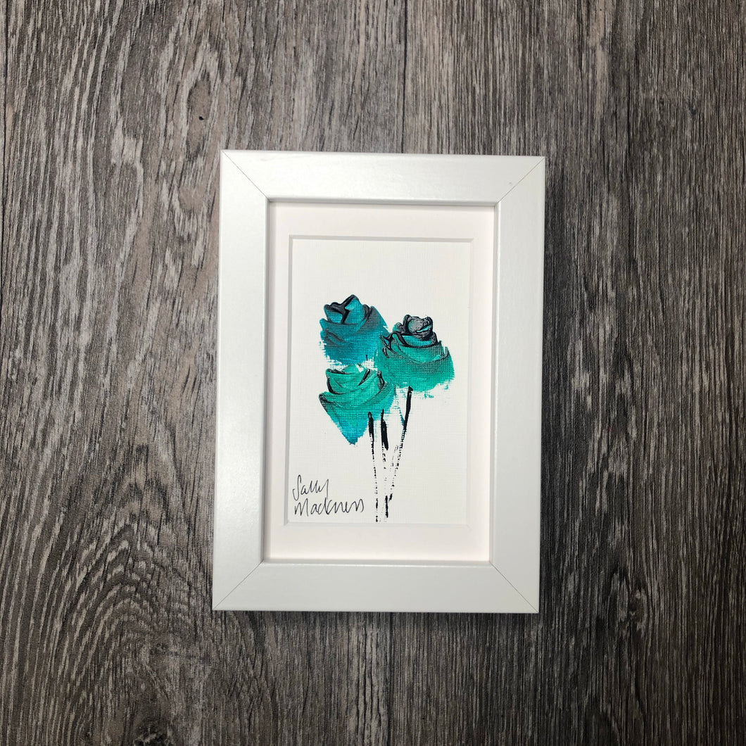 Green Roses (portrait)  - framed