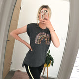 Charcoal Leopard Rainbow Muscle T-Shirt