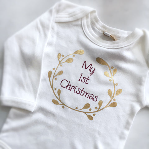 My 1st Christmas Long Sleeve Bodysuit White