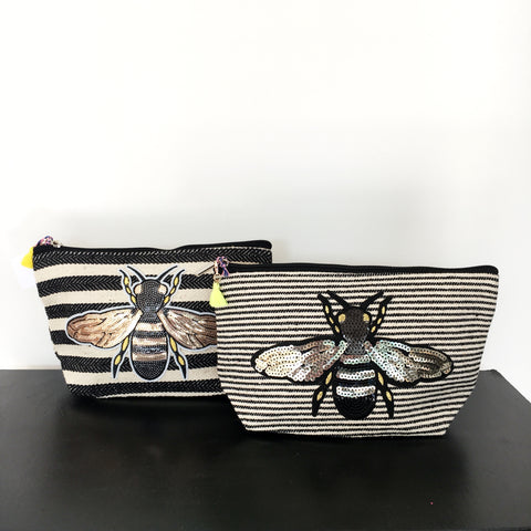 Sequinned Bee Accessory Bag