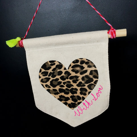 Leopard Print With Love Flag