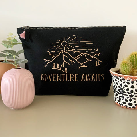 Adventure Awaits Large Pouch Black