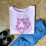 Oversized Tiger Sweater Pink