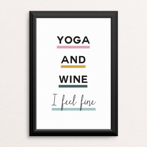 Yoga and Wine Art Print