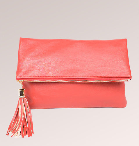 Leather Tassel Clutch Bag