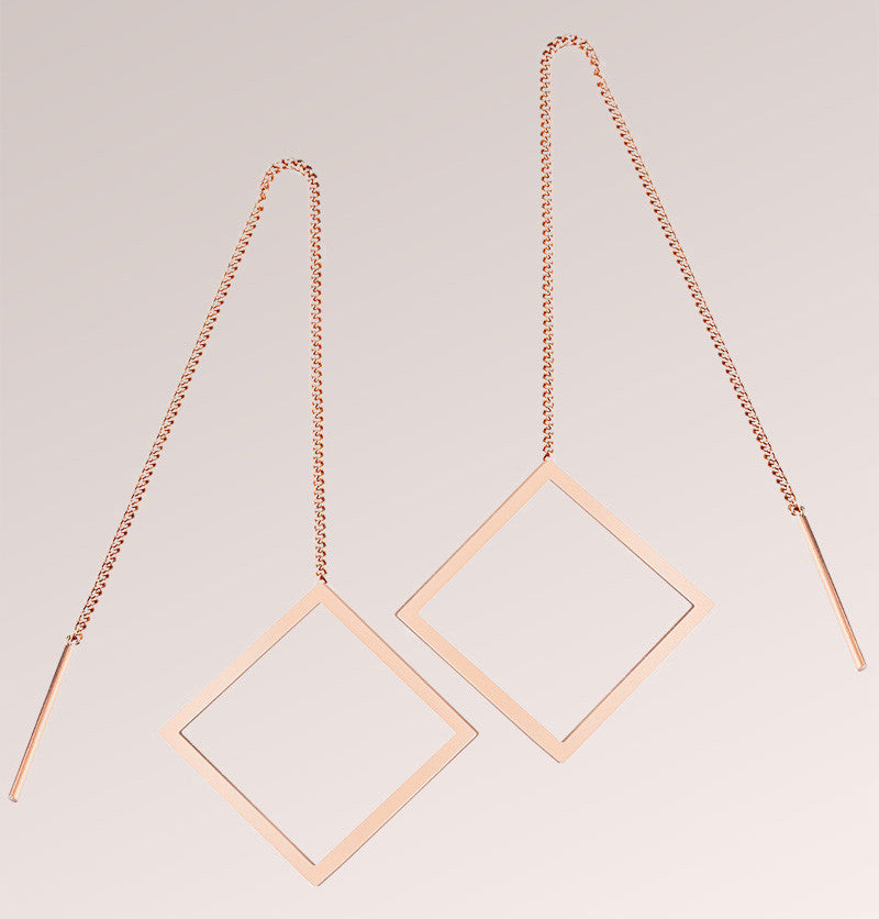 Square Long Chain Dangle Earrings