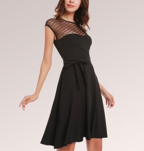 Mesh Bow Belt Skater Midi Dress