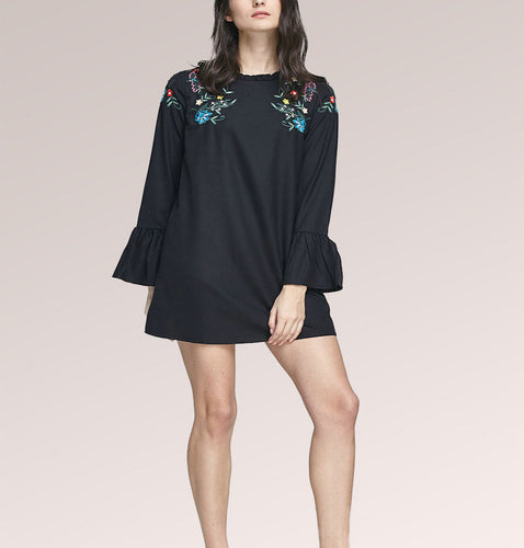 Black Embroidered Long Sleeve Flare Shift Mini Dress