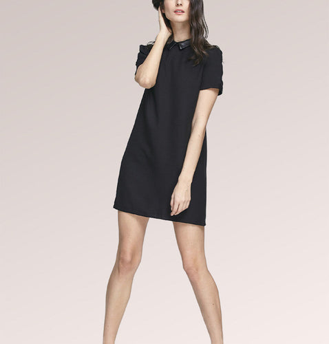 Black Collar Short Sleeve Shift Mini Dress