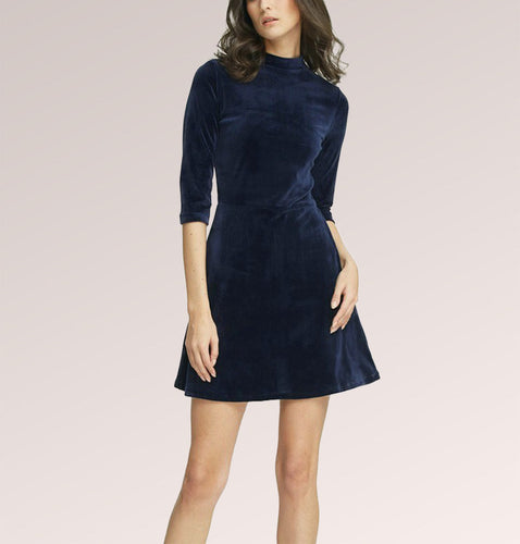 Velvet ¾ Sleeve Skater Mini Dress