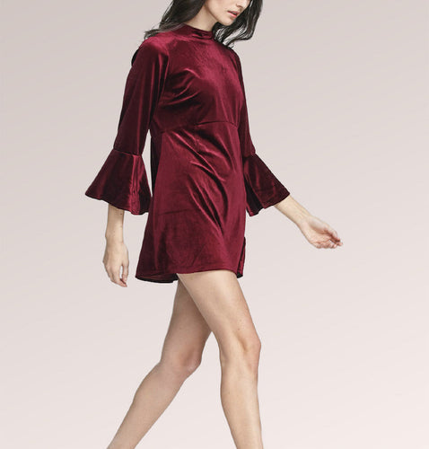 Velvet Red Flare Sleeve Skater Mini Dress