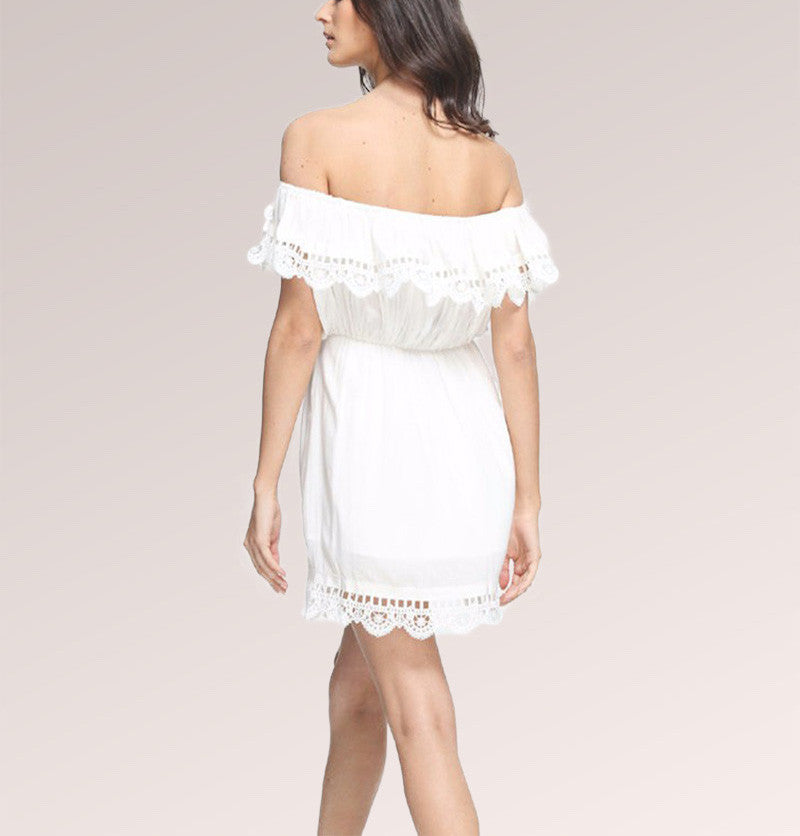 Casual White Lace Off-Shoulder Skater Mini Dress