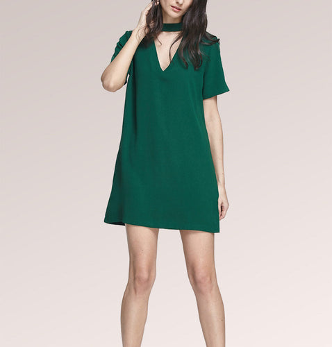 Green Short Sleeve Neck Halter Skater Mini Dress