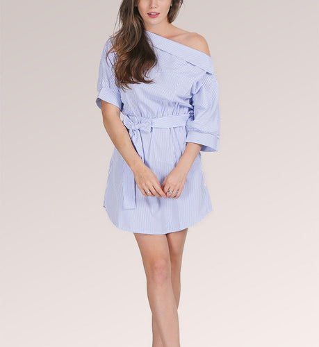 Casual Summer Blue Striped One Shoulder ½ Sleeve Tunic Dress