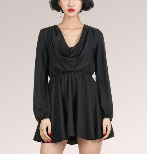Black Long Sleeve V Neck Skater Mini Dress