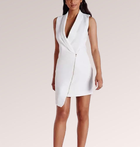 Black and White Collar Zip Midi Dress