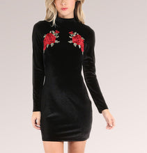Embroidered Velvet Long Sleeve Bodycon Mini Dress