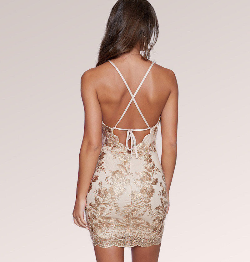 Sleeveless Off-Shoulder Cross Bandage Bodycon Mini Dress