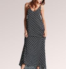 Long Sleeveless Dotted Maxi Dress
