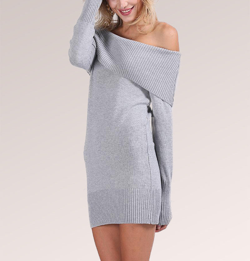 Knit Off Shoulder Long Sleeve Bodycon Mini Dress