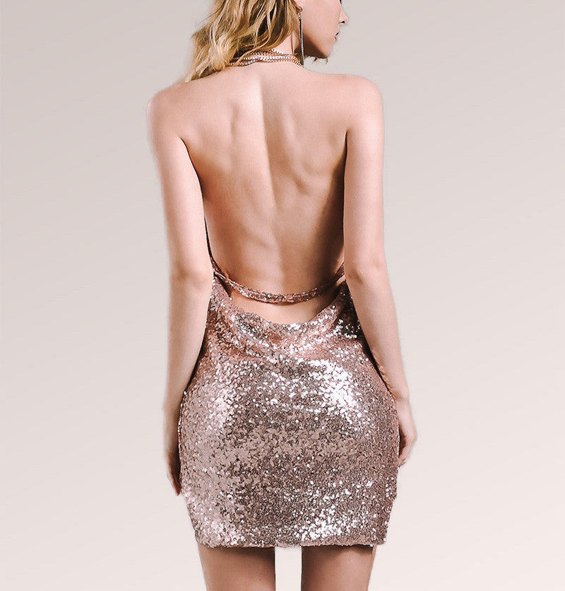 Sequin Kendall Jenner Backless Deep V Bodycon Mini Dress