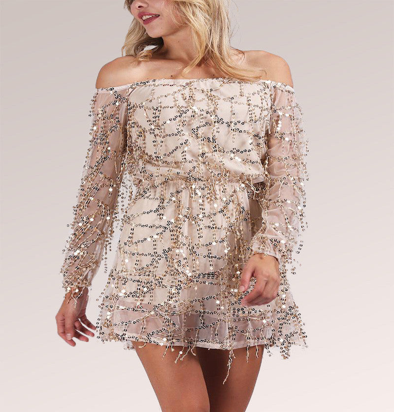 Sequin Long-Sleeve Apparel Off-Shoulder Mini Dress