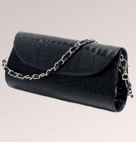 Crocodile Leather Shoulder Clutch Bag
