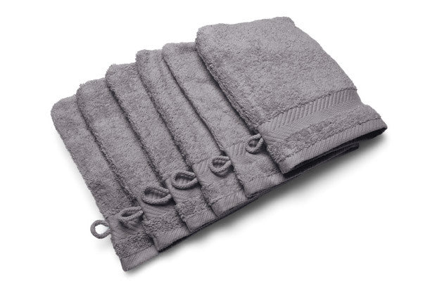 Royal touch - Slategrey - Set van 6 washandjes (16 x 22 cm)