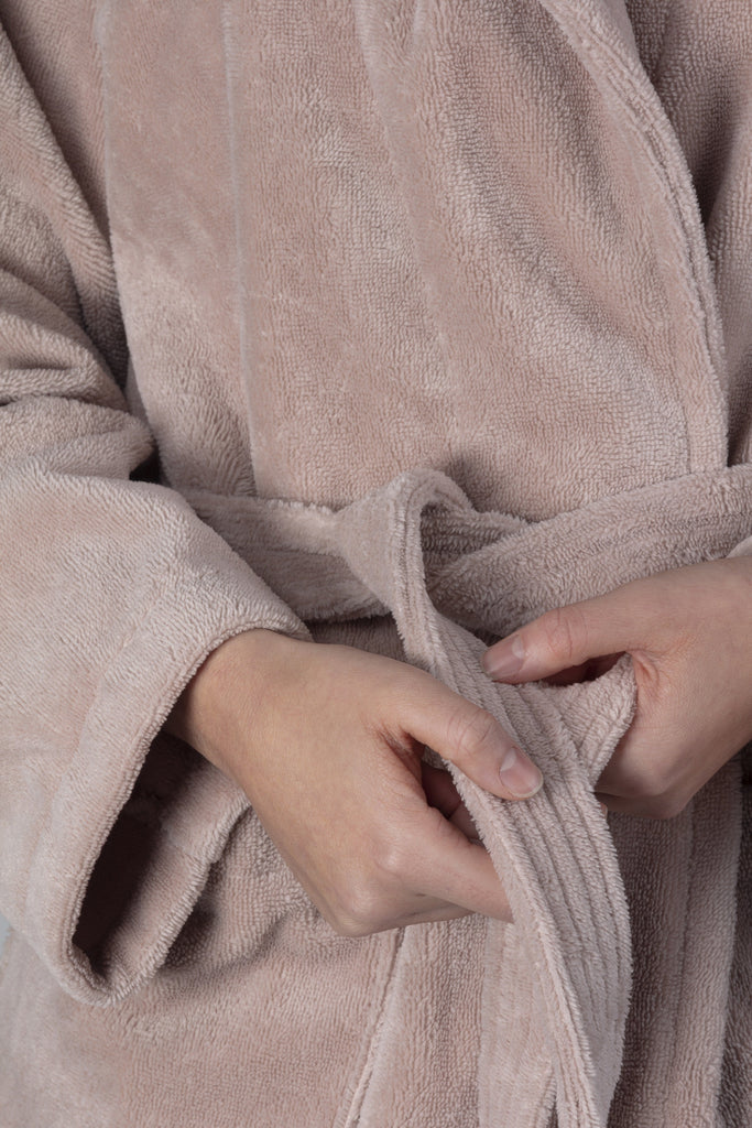 Teddy | Fleece Badjas - Misty Pink