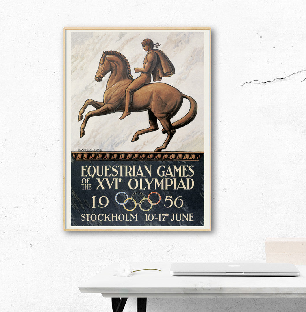 Stockholm 1956 Equestrian Olympic Games Official Poster