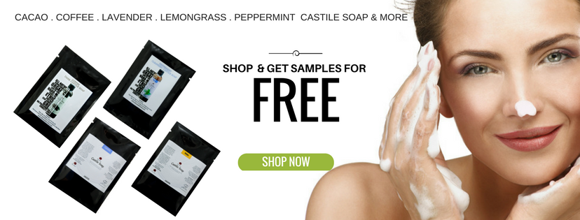 FREE ORGANIC CASTILE SOAP SAMPLE. FREE SAMPLE. Lemongrass, cacao, lavender, peppermint and unscented cleansing castile soap.