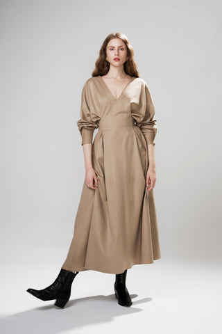 Signature Pleated Volume Dress in Wool