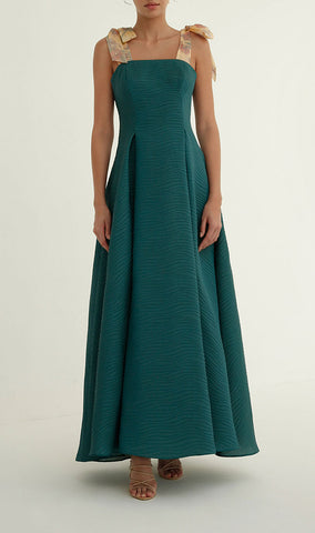 Tie-strap dress in Pine