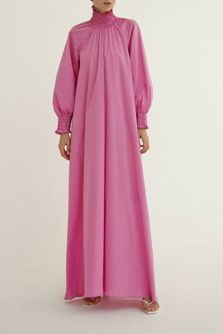High-neck flow dress in Mulberry