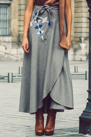 Embroidered Wrap Skirt