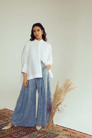 Denim Pleated Pants