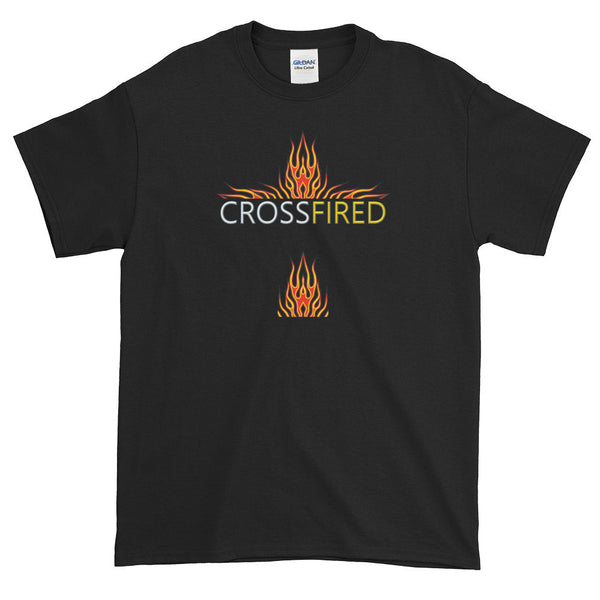 CrossFired flames (dark shirts) - 100% Cotton T-shirt - 6 oz Classic Fit, Thick Jersey Knit-Black-S-Boundless Creations-Christian